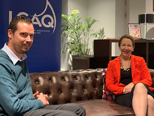 LGAQ Domestic and Family Violence Project Officer Jim Boden with Di Farmer, Queensland's Minister for Child Safety, Youth and Women and Minister for Prevention of Domestic and Family Violence