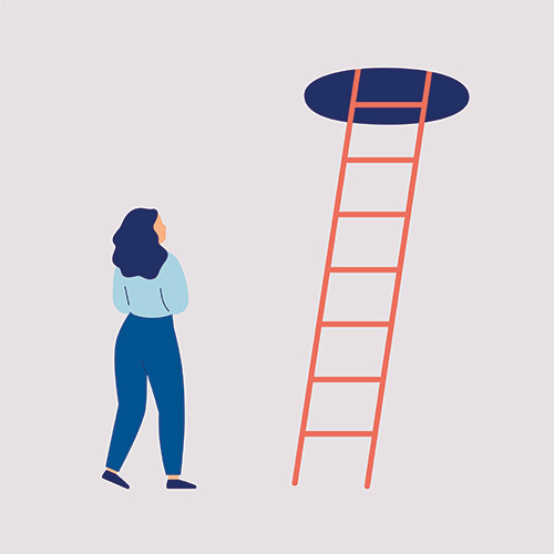 illustration - lady looking up ladder to exit
