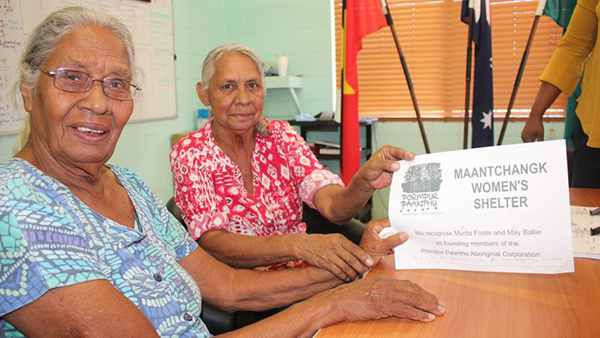 Myrtle Foote and May Ballie established Pormpuraaw's first women's shelter in the 1990s (ABC News, Supplied: Christine Howes).